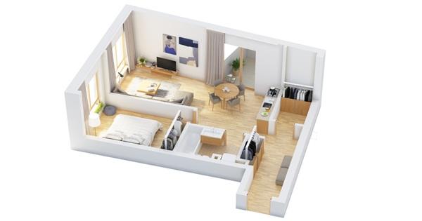 15 แปลนบ้านชั้นเดียว 1 ห้องนอน ไอเดียแบ่งสัดส่วนห้องบนพื้นที่เดียว