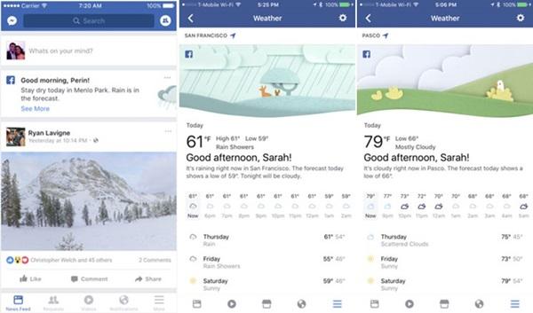 เฟซบุ๊กทดสอบฟีเจอร์รายงานสภาพอากาศ