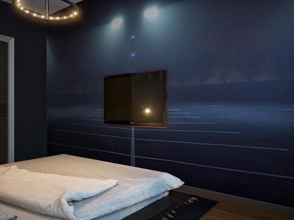 ห้องนอนผู้ชาย ห้องนอนสีน้ำเงิน ขนาดเล็ก แนวโมเดิร์น