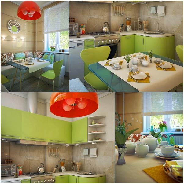 ห้องครัวเล็ก ๆ สีเขียว สวยอบอุ่น มีชีวิตชีวา