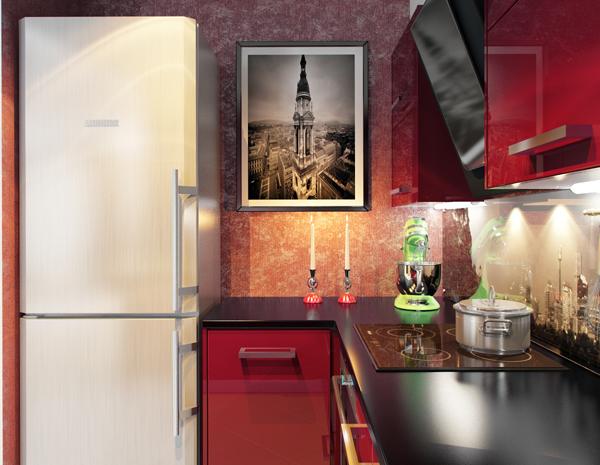 ห้องครัวสีแดง มุมทำครัวเล็กๆ
