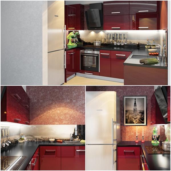 ห้องครัวสีแดง มุมทำครัวเล็่กๆ