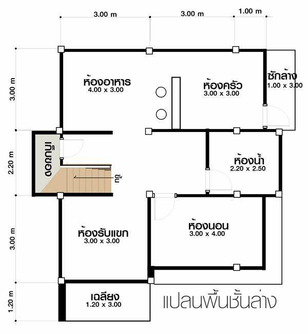 แบบบ้านสองชั้น แบบบ้านโมเดิร์น 3 ห้องนอน 2 ห้องน้ำ