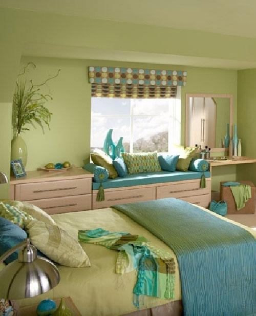 ห้องนอนสีเขียว-ฟ้า สำหรับคนชอบความสดใส