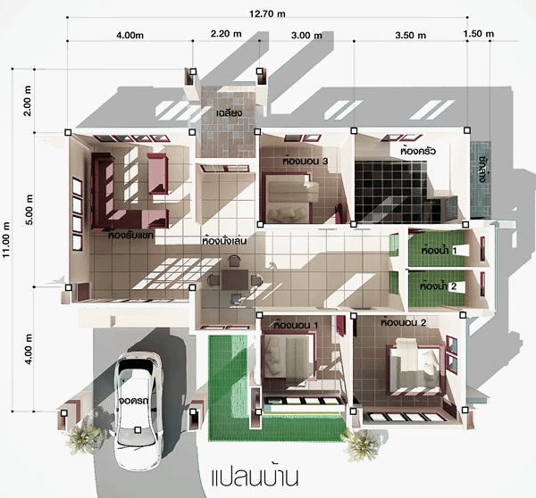 แบบบ้านชั้นเดียว 3 ห้องนอน 2 ห้องน้ำ