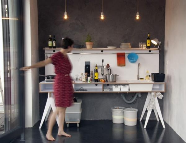 เคาน์เตอร์ครัวเล็ก ๆ แต่แจ่ม สำหรับห้องครัวแคบ