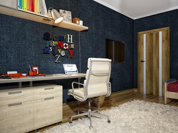 น่ารัก! ห้องนอนวัยรุ่นสีน้ำเงิน เตียงสองชั้น