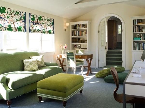แบบห้องรับแขกสีเขียว