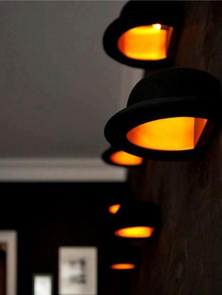 แต่งบ้านเก๋ ๆ ด้วยโคมไฟจากหมวกโบว์เลอร์