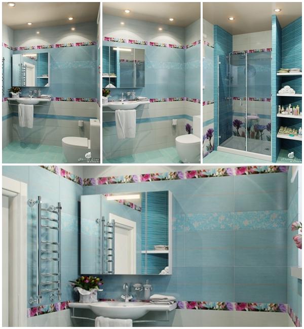 แบบห้องน้ำขนาดเล็ก ห้องน้ำสีฟ้า ลายดอกไม้