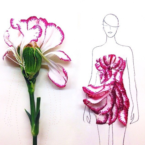 ชุดจากกลีบดอกไม้