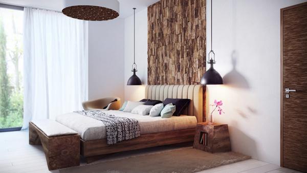 ห้องนอนสีเอิร์ธโทน ตกแต่งด้วยไม้ธรรมชาติ
