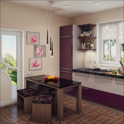แบบห้องครัวบิวท์อิน แต่งด้วยสีม่วงเข้ม