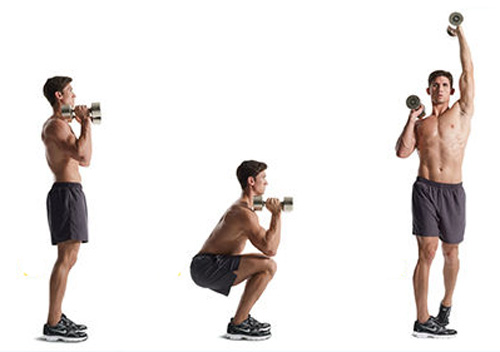 Alternating dumbbell shoulder press